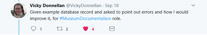 Tweet by Vicky Donnellan. Given example database record and asked to point out errors and how I would improve it, for museum documentation role