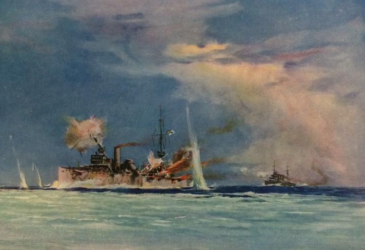 Descriptive image, a ship in distress