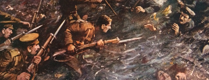Decorative image, First World War soldiers fighting in a trench